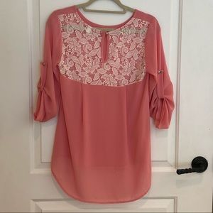 Women's sheer dusty pink blouse